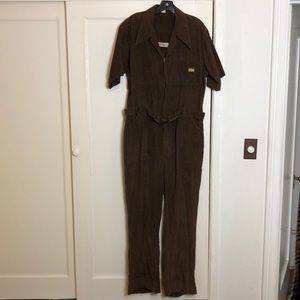 Brown vintage corduroy one piece jumpsuit romper